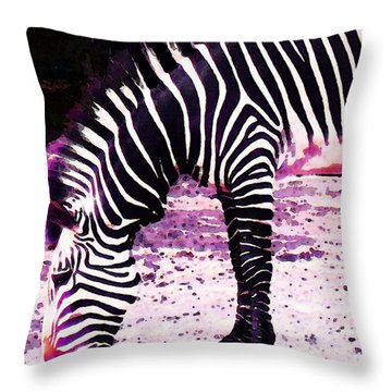 Colorful Zebra 2 - Buy Black And White Stripes Art Throw Pillow by Sharon Cummings