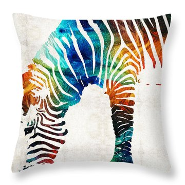 Colorful Zebra Art By Sharon Cummings Throw Pillow by Sharon Cummings