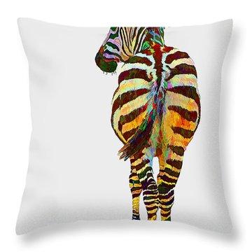 Colorful Zebra Throw Pillow by Teresa Zieba