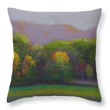 Colors By The Tracks Throw Pillow by Sherri Anderson