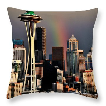 Colors Of Seattle Throw Pillow by Benjamin Yeager
