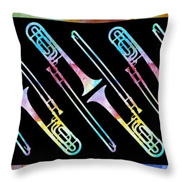 Colorwashed Trombones Throw Pillow by Jenny Armitage