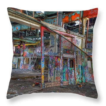 Coloured Dereliction Throw Pillow by David Birchall