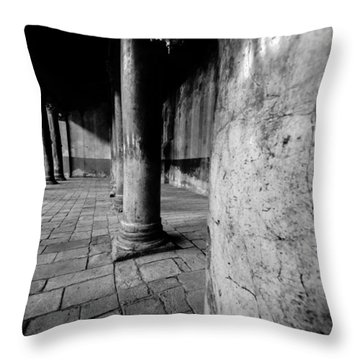 Columns At The Church Of Nativity Throw Pillow by David Morefield