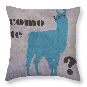 Como Te Llamas Humor Pun Poster Art Throw Pillow by Design Turnpike