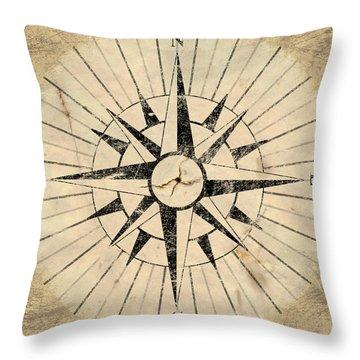 Compass Face Throw Pillow by Allan Swart