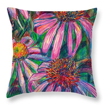 Coneflower Twirl Throw Pillow by Kendall Kessler