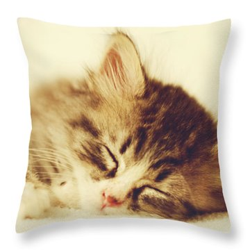 Content Kitty Throw Pillow by Pam  Holdsworth