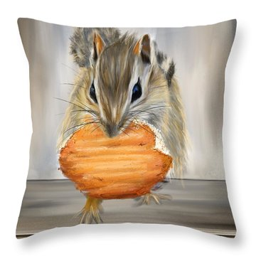 Cookie Time- Squirrel Eating A Cookie Throw Pillow by Lourry Legarde