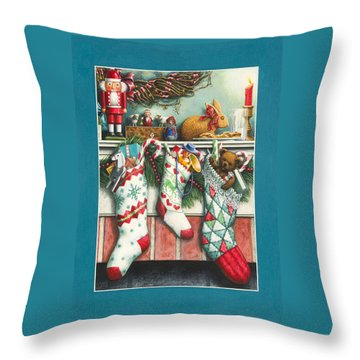 Cookies For Santa Throw Pillow by Lynn Bywaters