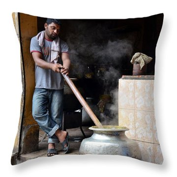 Cooking Breakfast Early Morning Lahore Pakistan Throw Pillow by Imran Ahmed