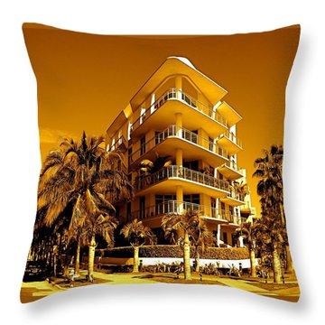Cool Iron Building In Miami Throw Pillow by Monique Wegmueller