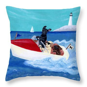 Cool Motorboat Labradors Throw Pillow by Naomi Ochiai