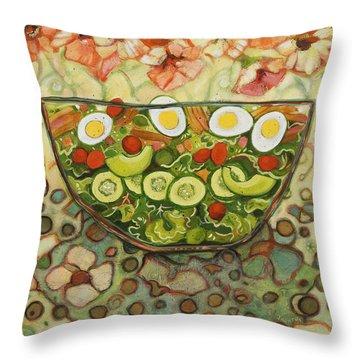 Cool Summer Salad Throw Pillow by Jen Norton