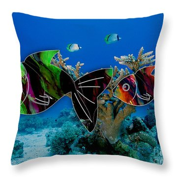 Coral Reef Painting Throw Pillow by Marvin Blaine