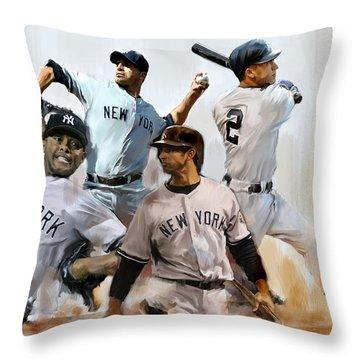 Core  Derek Jeter Mariano Rivera  Andy Pettitte Jorge Posada Throw Pillow by Iconic Images Art Gallery David Pucciarelli