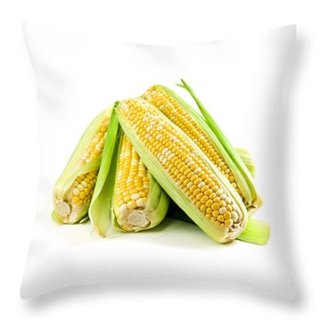 Corn Ears On White Background Throw Pillow by Elena Elisseeva
