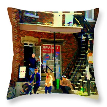 Corner Laurier Marche Maboule Depanneur Summer Stroll With Baby Carriage Montreal Street Scene Throw Pillow by Carole Spandau