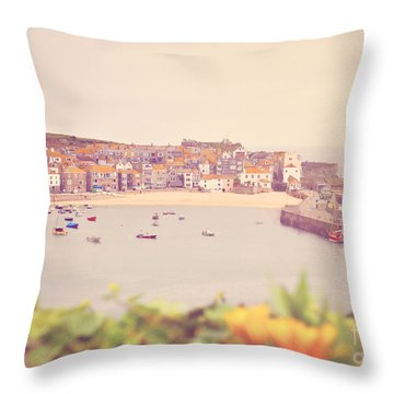 Cornish Harbour Throw Pillow by Lyn Randle