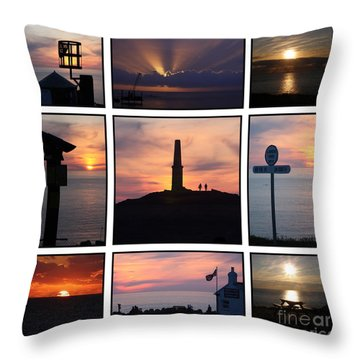 Cornish Sunsets Throw Pillow by Terri Waters