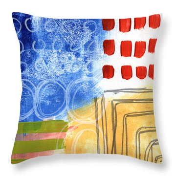 Corridor- Colorful Contemporary Abstract Painting Throw Pillow by Linda Woods