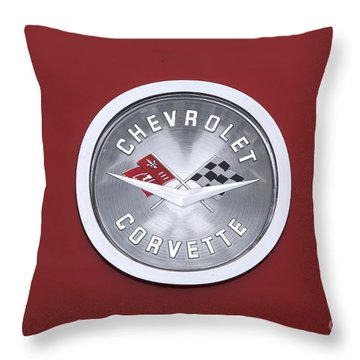 Corvette Emblem Throw Pillow by Neil Zimmerman