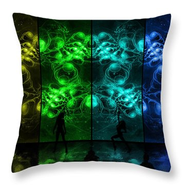 Cosmic Alien Vixens Pride Throw Pillow by Shawn Dall