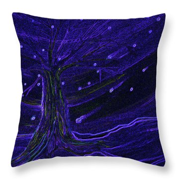 Cosmic Tree Blue Throw Pillow by First Star Art