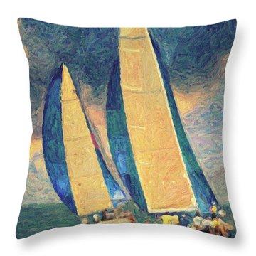 Costa Smeralda Throw Pillow by Taylan Apukovska