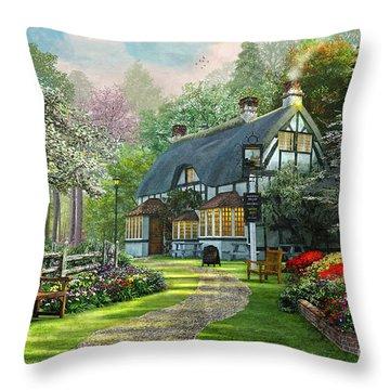 Cottage Pub Throw Pillow by Dominic Davison