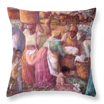 Cotton Fields Throw Pillow by Pamela Mccabe