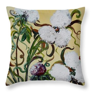 Cotton Triptych Throw Pillow by Eloise Schneider