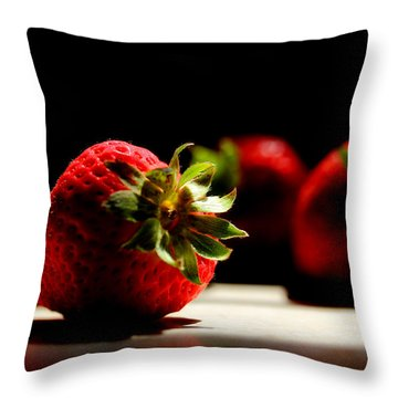 Countertop Strawberries Throw Pillow by Michael Eingle