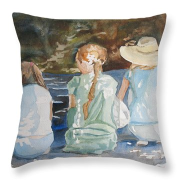 Cousins At The Brook Throw Pillow by Jenny Armitage
