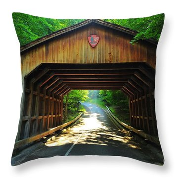 Covered Bridge At Sleeping Bear Dunes National Lakeshore Throw Pillow by Terri Gostola