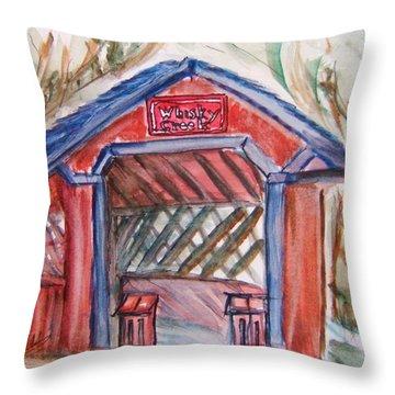 Covered Bridge Loretto Kentucky Throw Pillow by Elaine Duras