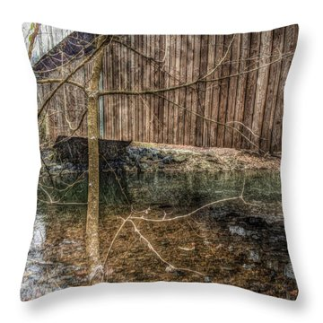 Covered Bridge Snowy Day Throw Pillow by Susan Maxwell Schmidt