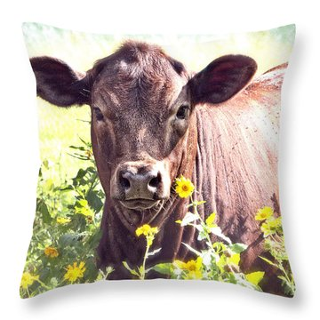 Cow In Wildflowers Throw Pillow by Ella Kaye Dickey