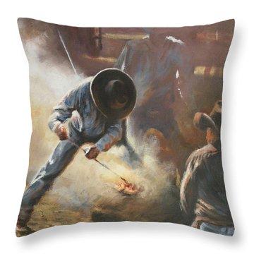 Cowboy Bar-code Throw Pillow by Mia DeLode