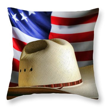 Cowboy Hat And American Flag Throw Pillow by Olivier Le Queinec