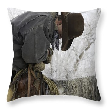 Cowboy Sleeps In The Saddle Throw Pillow by Carol Walker