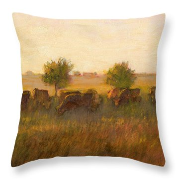Cows1 Throw Pillow by J Reifsnyder