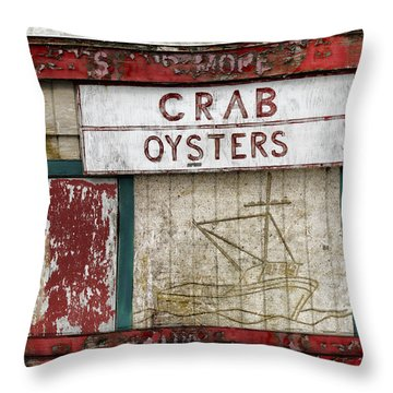 Crab And Oysters Throw Pillow by Carol Leigh