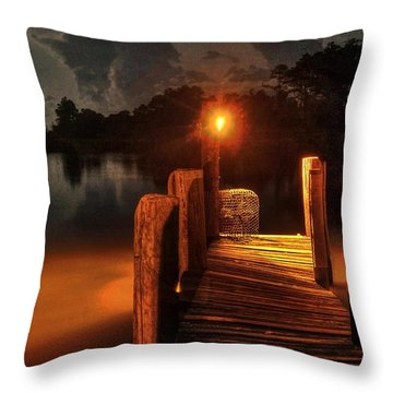 Crab Pot At The End Of The Dock Throw Pillow by Michael Thomas
