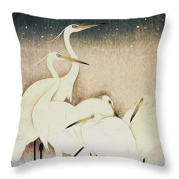 Cranes  Throw Pillow by Shanina Conway