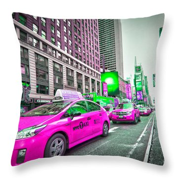 Crazy Cabs In Manhattan Throw Pillow by Delphimages Photo Creations