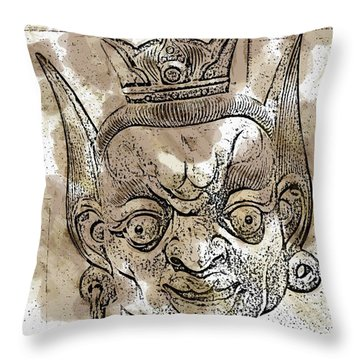 Creepy Mask Throw Pillow by Alice Gipson