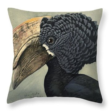 Crested Hornbill Throw Pillow by Louis Agassiz Fuertes