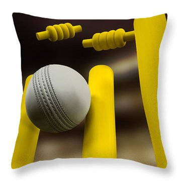 Cricket Ball Hitting Wickets Night Throw Pillow by Allan Swart