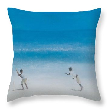 Cricket On The Beach, 2012 Acrylic On Canvas Throw Pillow by Lincoln Seligman